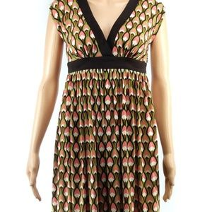 London Times Size 2 Geometric Dress Empire Waist